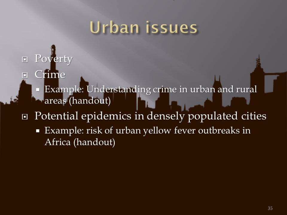 Urban issues Poverty Crime