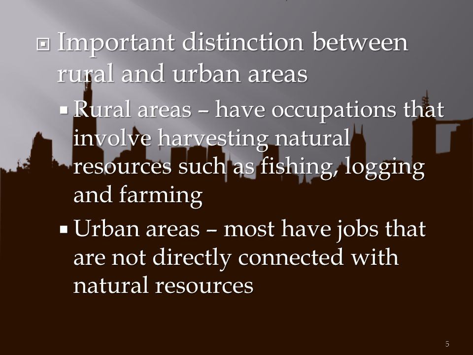 Important distinction between rural and urban areas