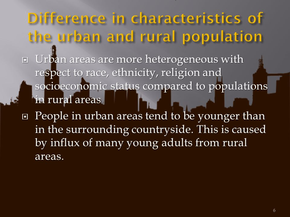 Difference in characteristics of the urban and rural population