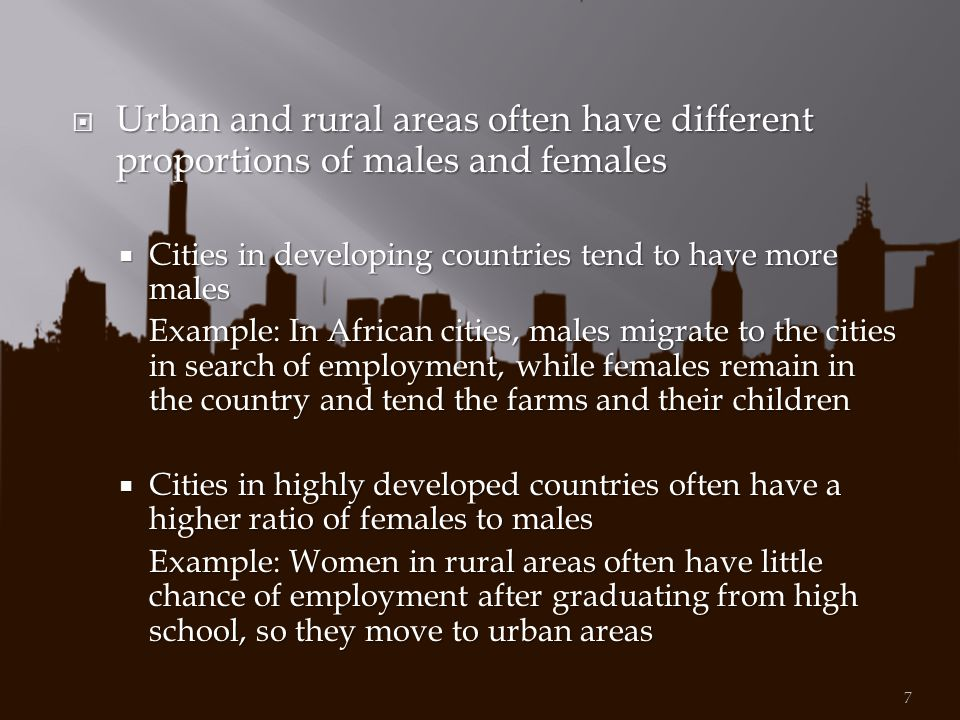 Urban and rural areas often have different proportions of males and females
