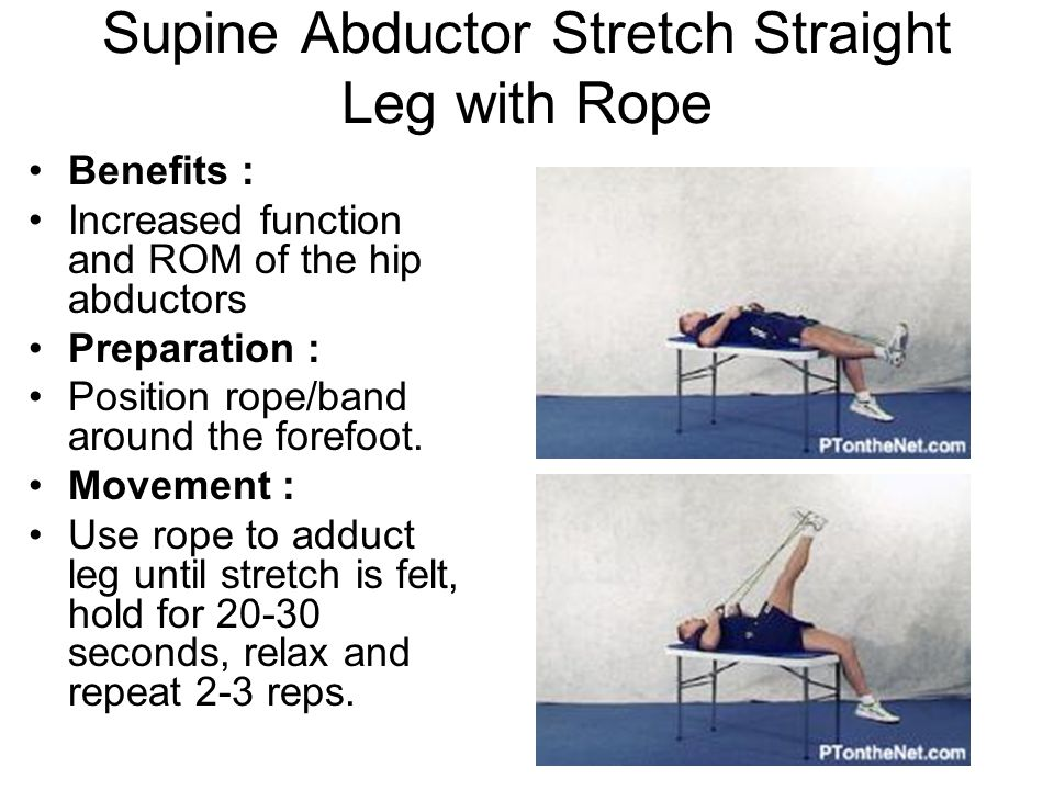 Supine Abductor Stretch Straight Leg with Rope