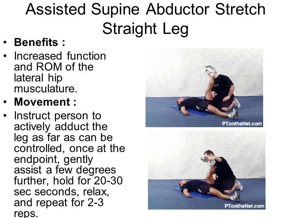 Assisted Supine Abductor Stretch Straight Leg