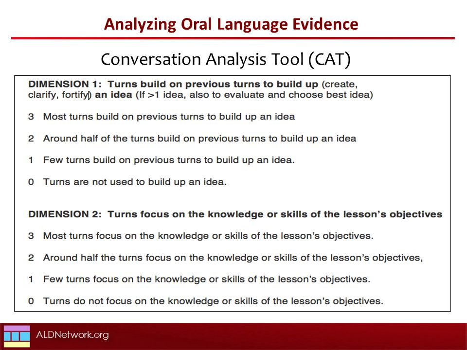 Analyzing Oral Language Evidence