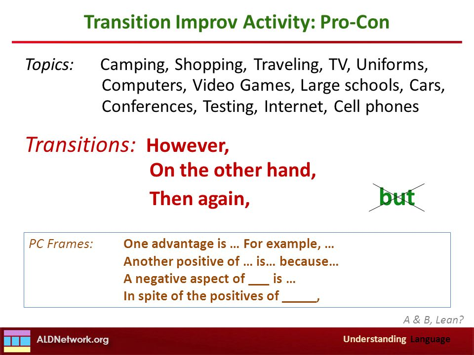Transition Improv Activity: Pro-Con