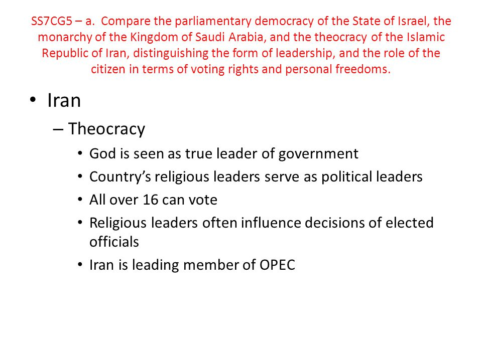 Iran Theocracy God is seen as true leader of government