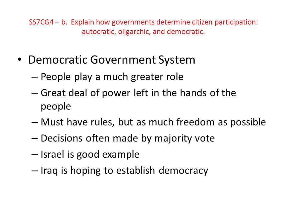 Democratic Government System