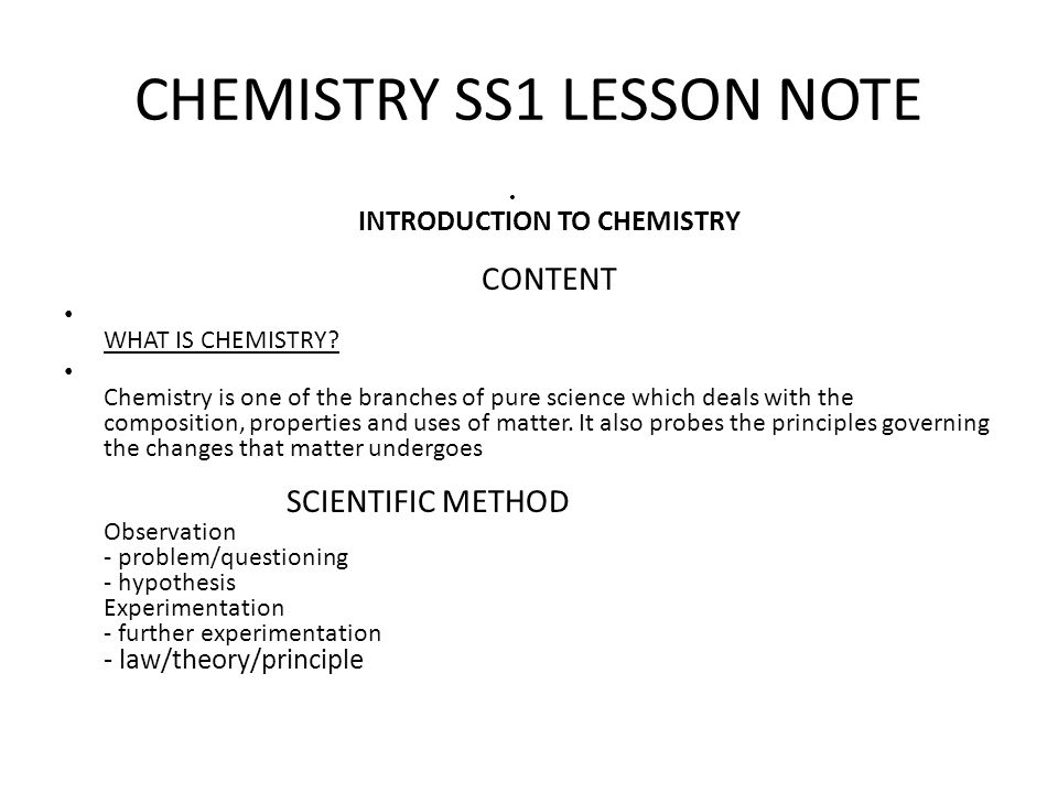 CHEMISTRY SS1 LESSON NOTE