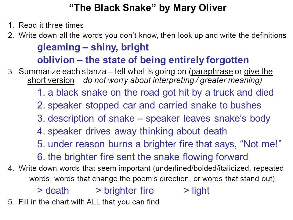 black snake mary oliver essay This site might help you re: poem by mary oliver help why did oliver write so little about the speaker and so much about the snake the black snake.