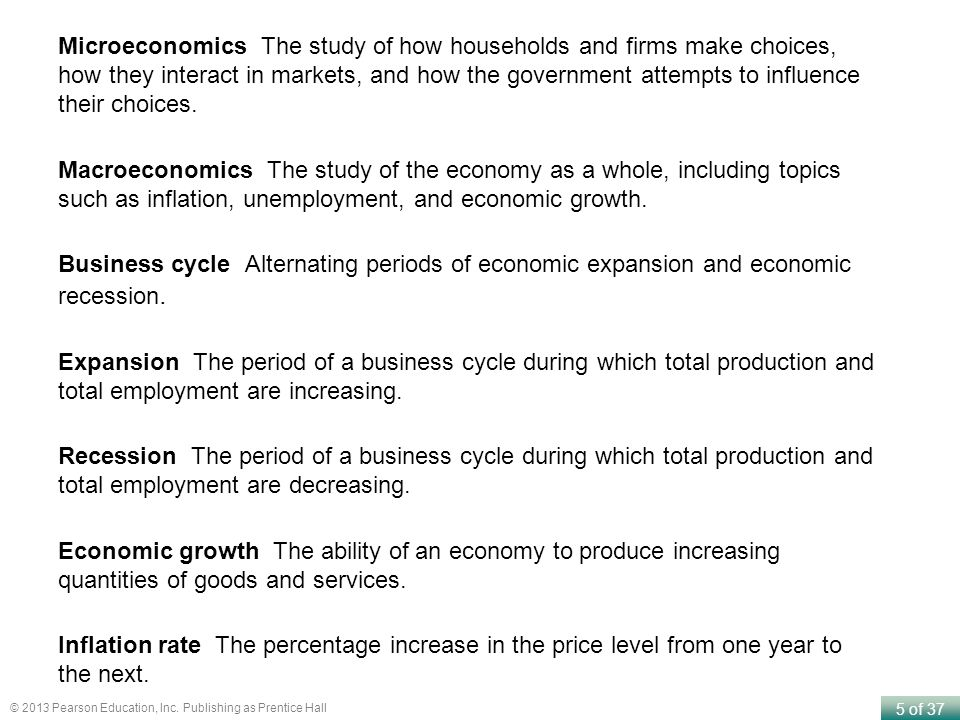 Microeconomics The study of how households and firms make choices, how they interact in markets, and how the government attempts to influence their choices.