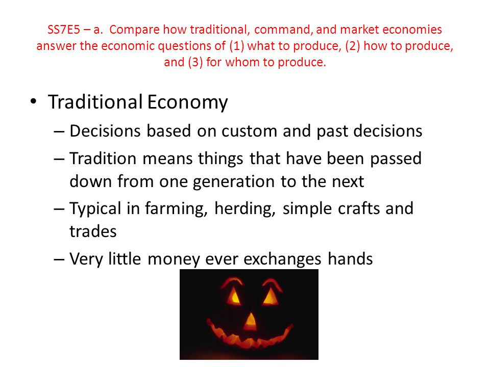 Traditional Economy Decisions based on custom and past decisions