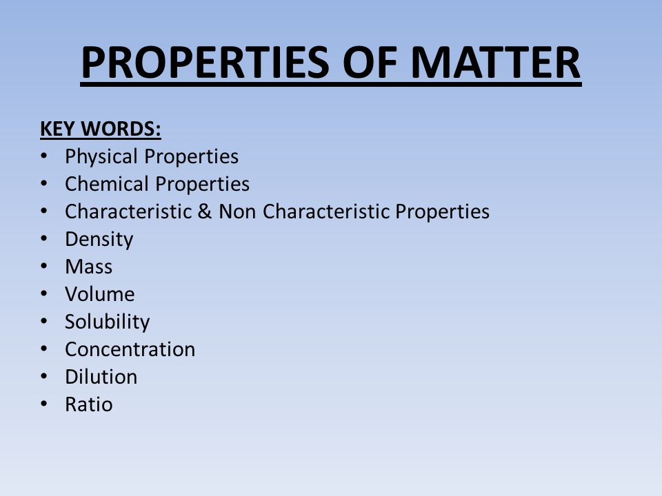 Characteristic Physical Property Examples