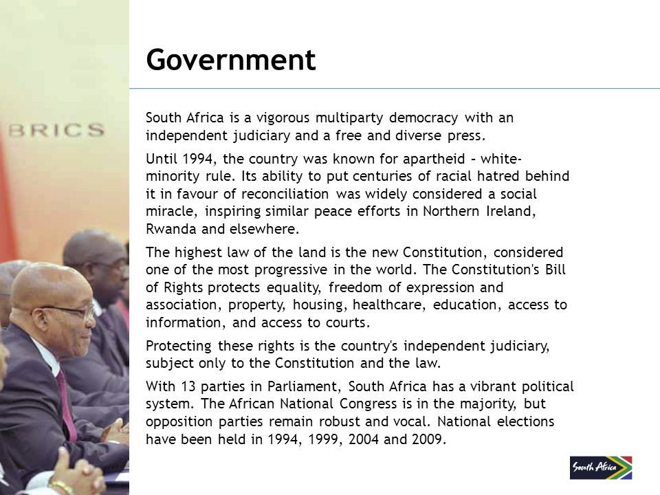 Government South Africa is a vigorous multiparty democracy with an independent judiciary and a free and diverse press.