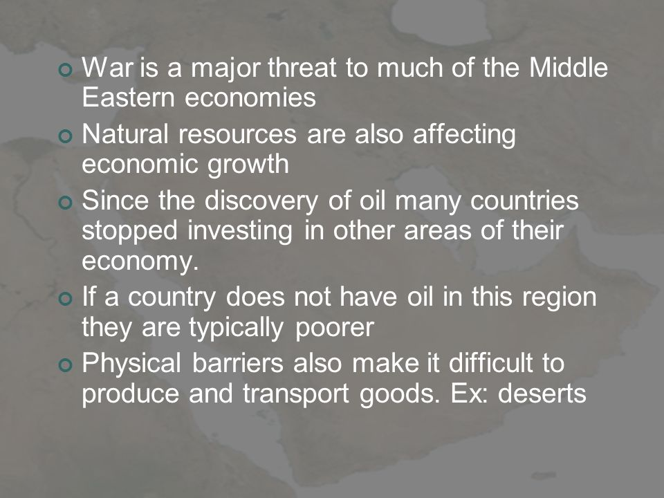 War is a major threat to much of the Middle Eastern economies