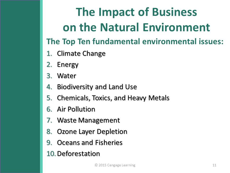 impact of natural environment on business Bloomberg bna -- the environmental impact of doing business costs the  the  natural capital costs for coal-fired power generation include.
