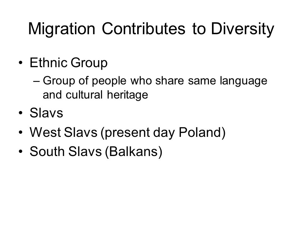 Migration Contributes to Diversity