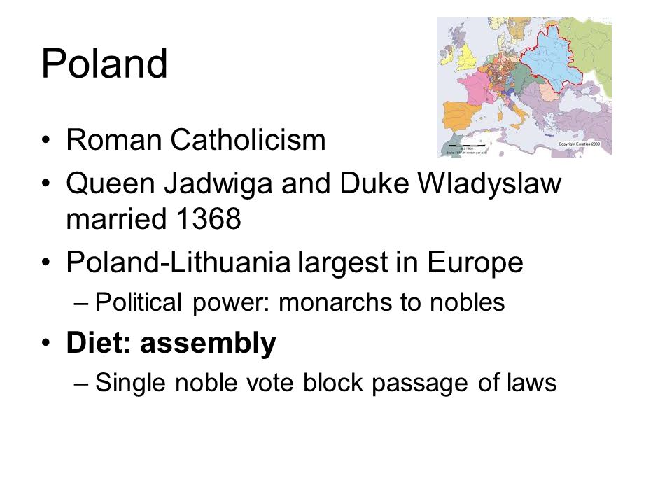 Poland Roman Catholicism Queen Jadwiga and Duke Wladyslaw married 1368