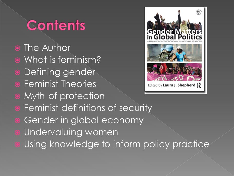 Contents The Author What is feminism Defining gender