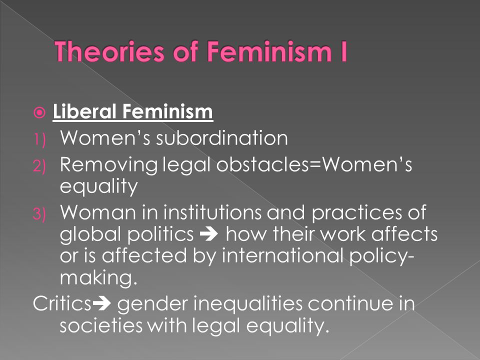 Theories of Feminism I Liberal Feminism Women's subordination