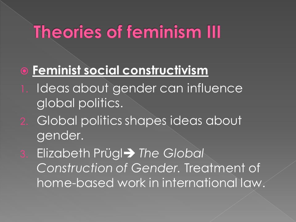social construction feminism construction of gender Social construction of gender shared flashcard set details title the toal pattern of gender relations that structure social institutions, including the stereotypical expectations liberal feminism: definition.