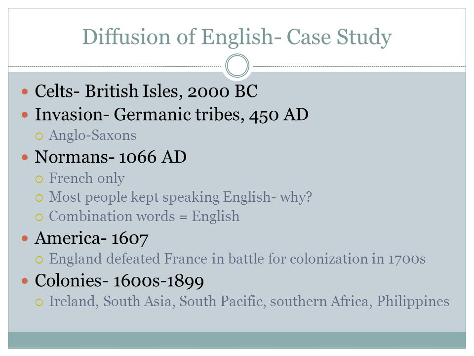 Diffusion of English- Case Study