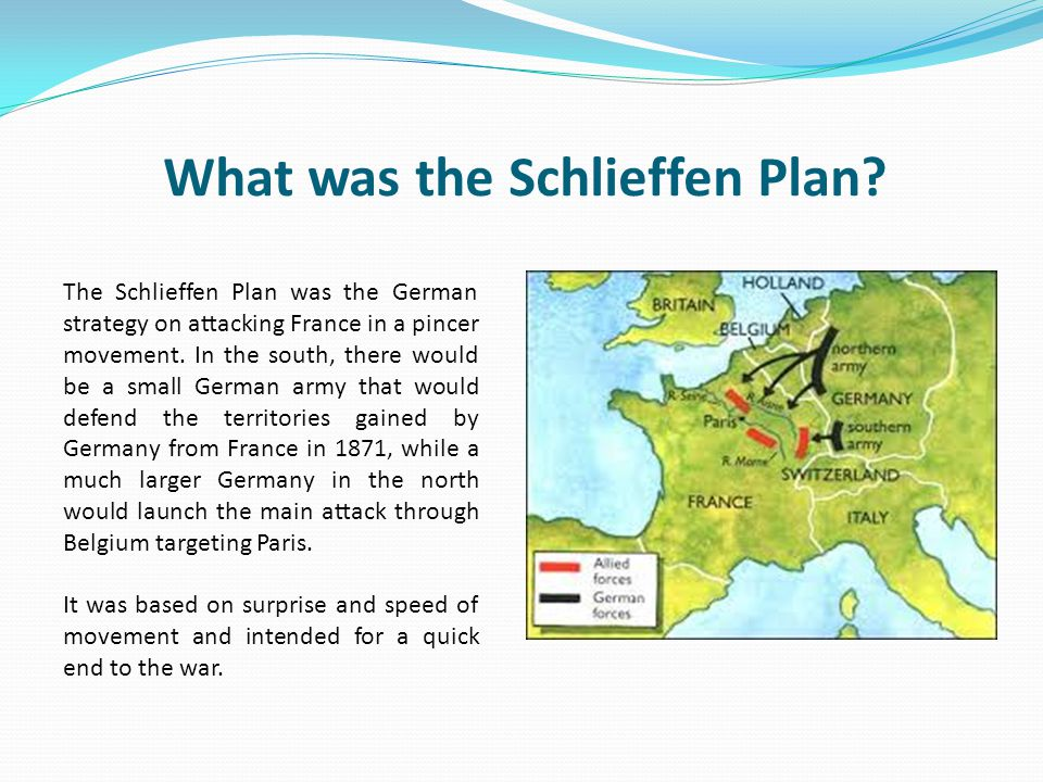 how close the schlieffen plan came to success If war came, they needed to be the attackers, not the defenders the best way to do that was to start the war themselves, rather than to wait for the enemy to invade the schlieffen plan.