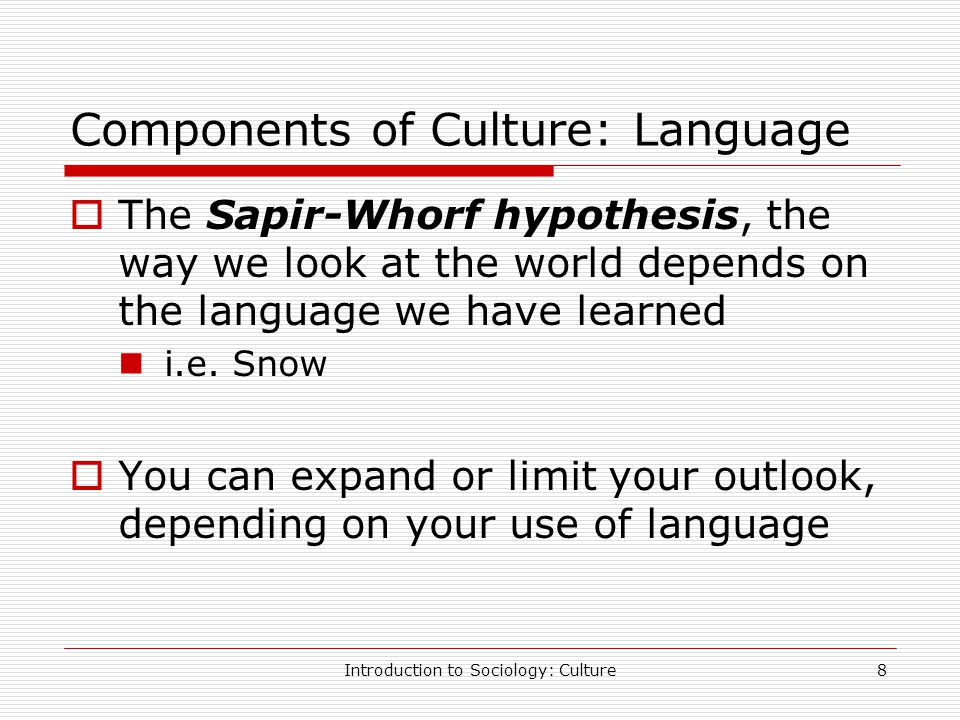 an overview of the sapir whorf hypothesis and definition Linguistic determinism is the strong form of linguistic relativity (popularly known as the sapir-whorf hypothesis), which argues that individuals experience the world based on the structure of the language they habitually use.