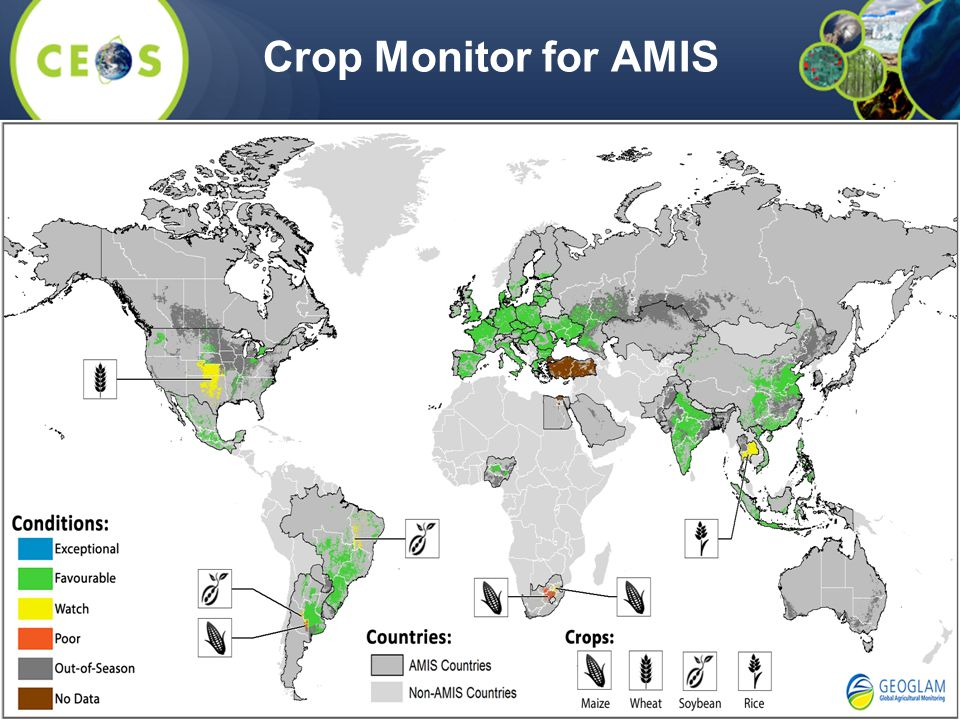 Crop Monitor for AMIS Upcoming AMIS Meeting in Rome/FAO in May 2015; side meeting at IGARSS On-going internal review in process of GEOGLAM.
