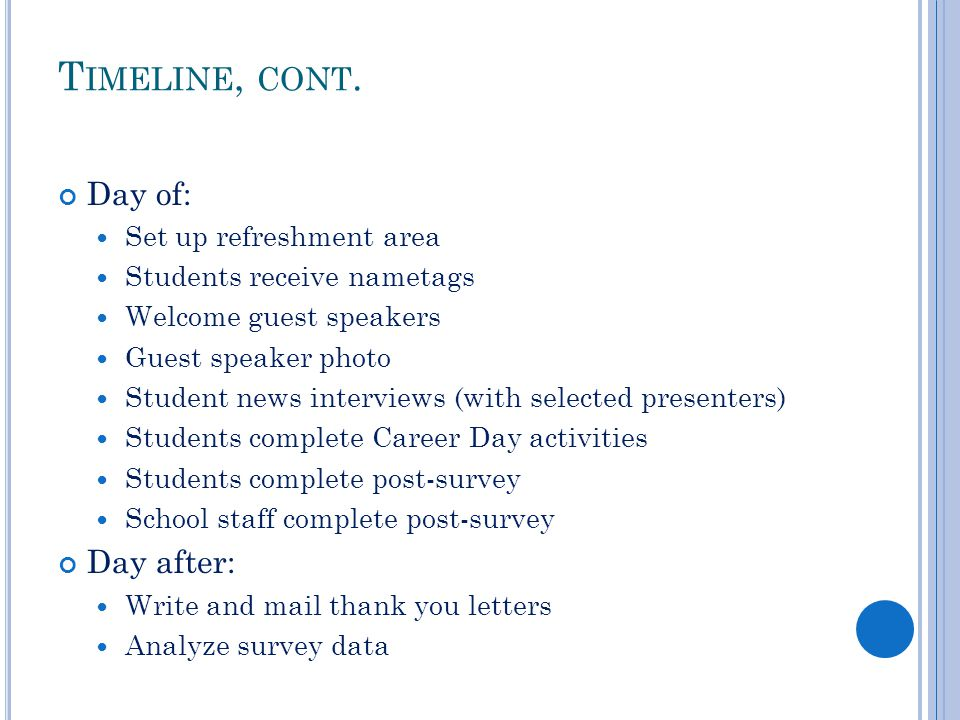 Career day making it manageable and meaningful ppt video thank you letters analyze survey data timeline cont day of day after set up refreshment area expocarfo