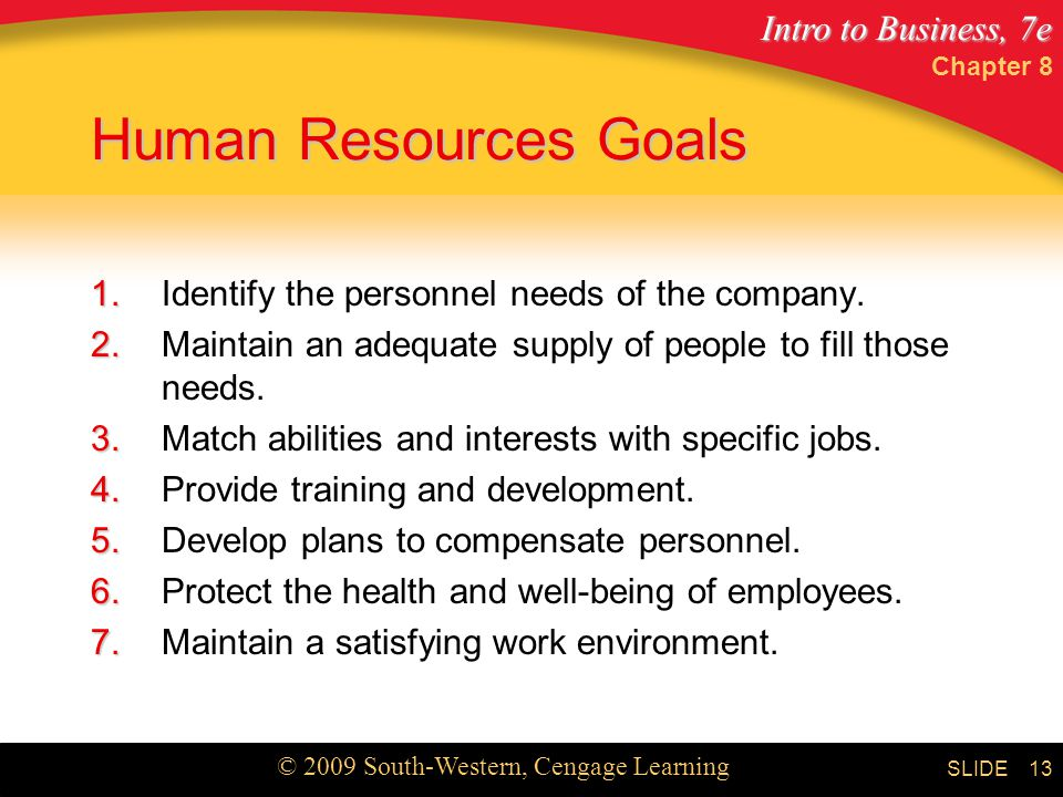 Human Resources Goals 1. Identify the personnel needs of the company.