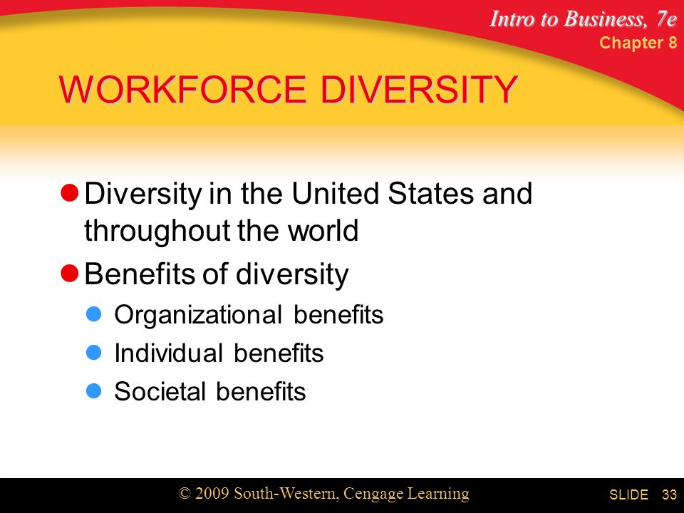 Chapter 8 WORKFORCE DIVERSITY. Diversity in the United States and throughout the world. Benefits of diversity.
