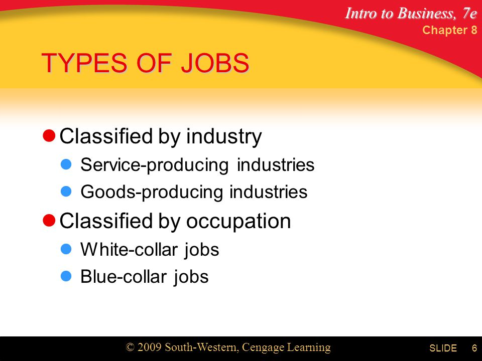 TYPES OF JOBS Classified by industry Classified by occupation