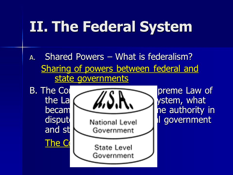 II. The Federal System The Constitution