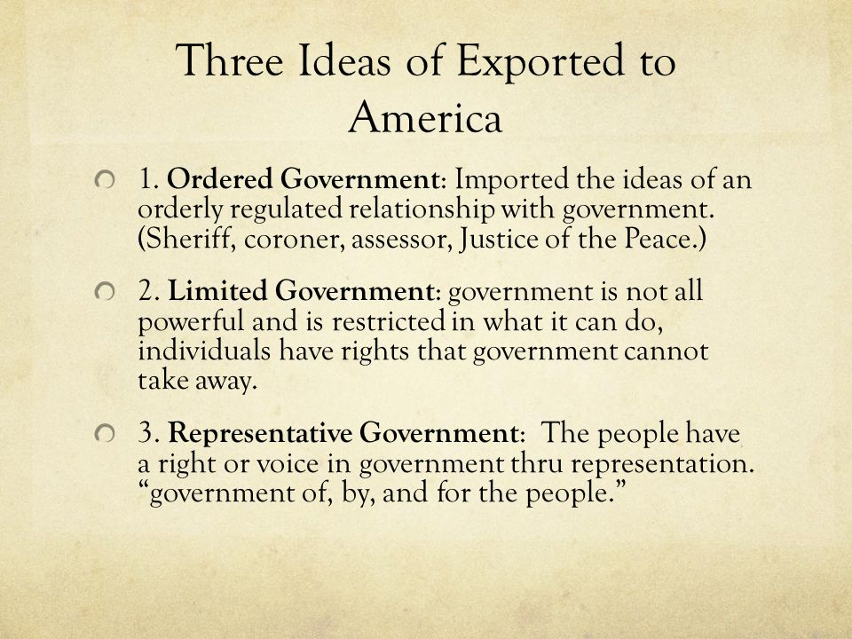 Three Ideas of Exported to America