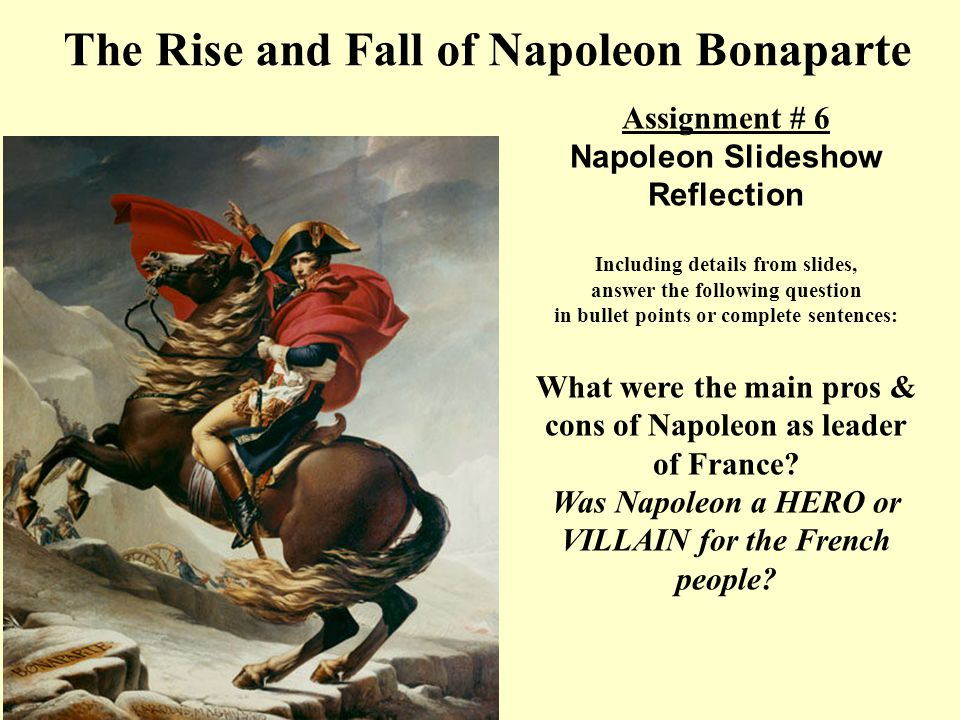 warm up write argument sentence the french revolution  the rise and fall of napoleon bonaparte