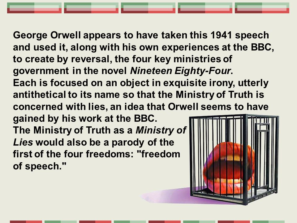 irony of george orwells 1984 A: george orwell's dystopian novel, 1984, is rife with examples of irony, both verbal and situational the verbal irony includes the memory hole, the names of the government ministries and the party motto, while the protagonist's health status is an example of situational irony.