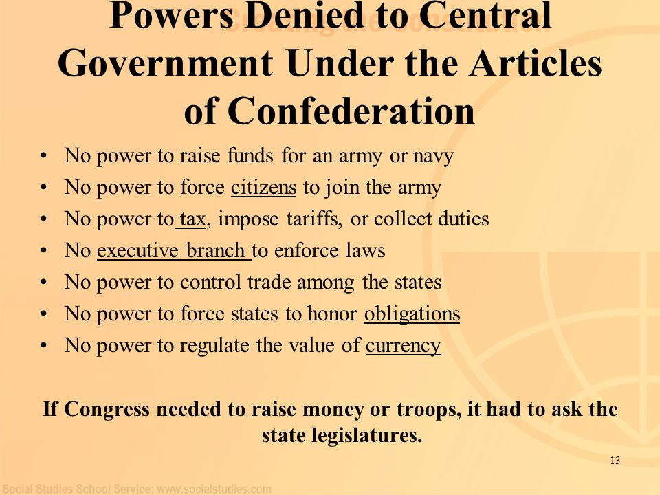 what powers performed any authorities administration possess according to any content articles for confederation