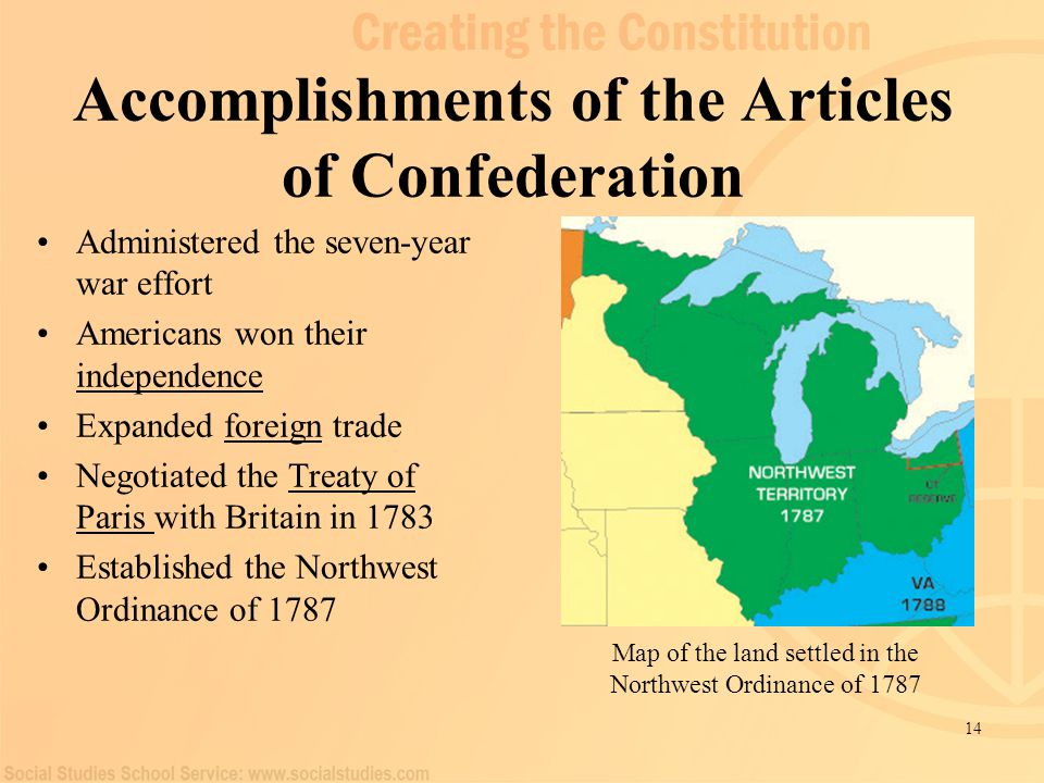 Northwest ordinance articles of confederation vs