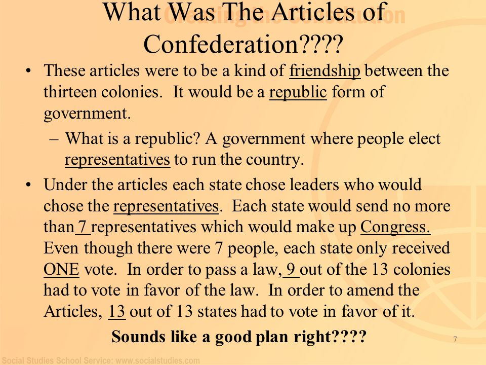 making procedures using the particular content articles of confederation