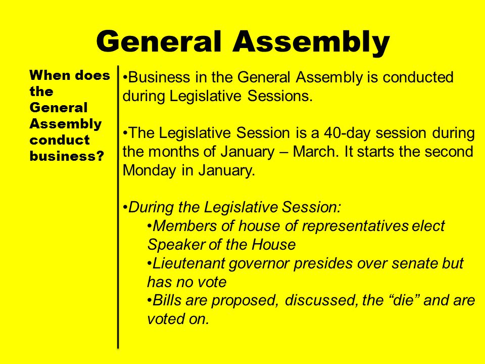 General Assembly When does the General Assembly conduct business Business in the General Assembly is conducted during Legislative Sessions.