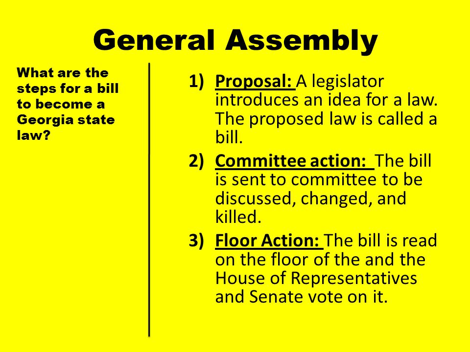 General Assembly What are the steps for a bill to become a Georgia state law