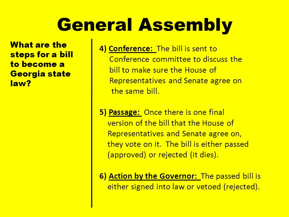 General Assembly 4) Conference: The bill is sent to