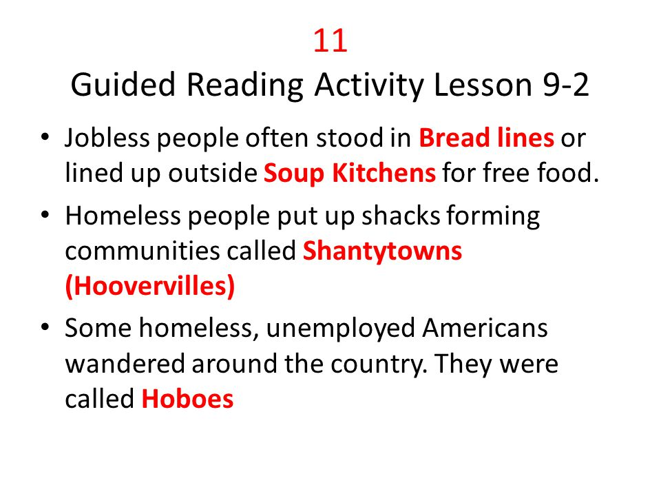 11 Guided Reading Activity Lesson 9-2