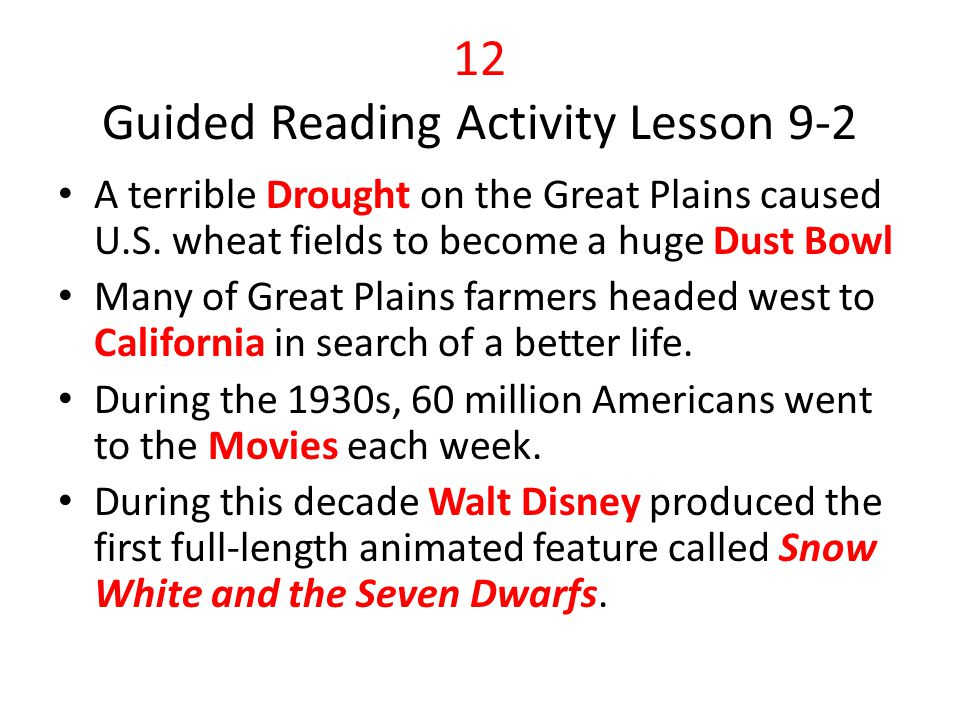 12 Guided Reading Activity Lesson 9-2