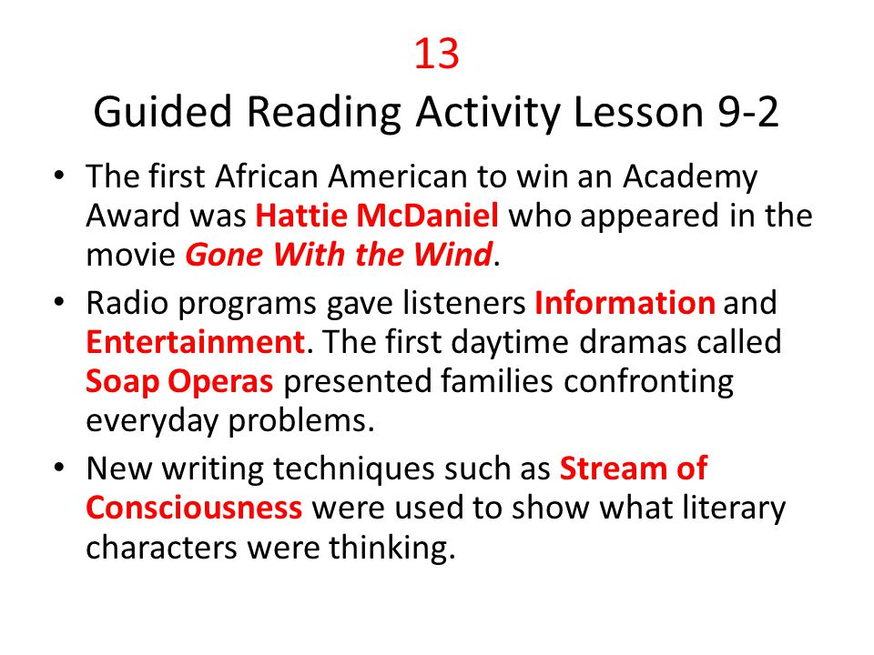 13 Guided Reading Activity Lesson 9-2