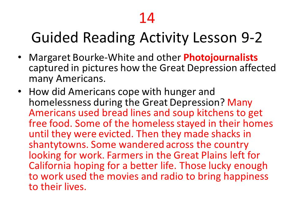 14 Guided Reading Activity Lesson 9-2