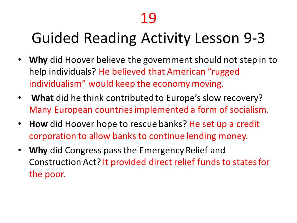 19 Guided Reading Activity Lesson 9-3