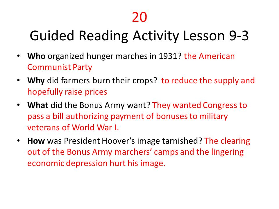 20 Guided Reading Activity Lesson 9-3