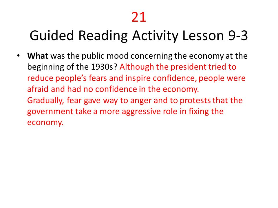 21 Guided Reading Activity Lesson 9-3
