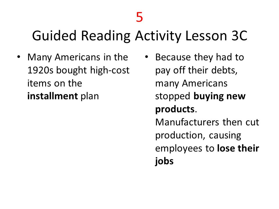5 Guided Reading Activity Lesson 3C