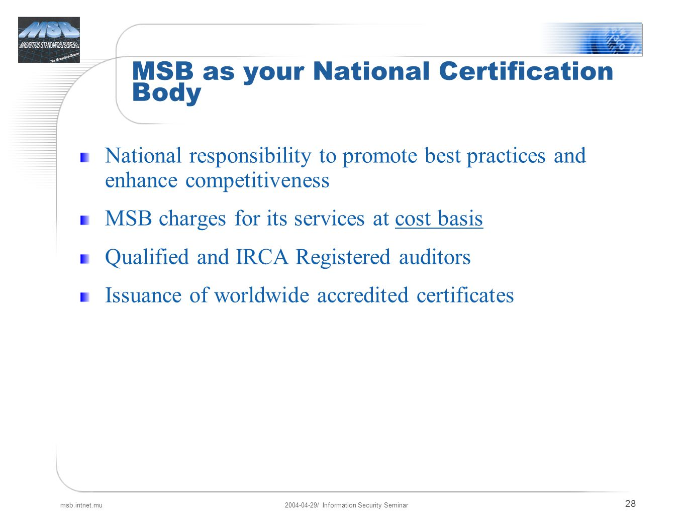 Information security seminar ppt download msb as your national certification body xflitez Images